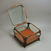 An Antique French Rose Glass  Jewellery Box 7 Inches Square S917
