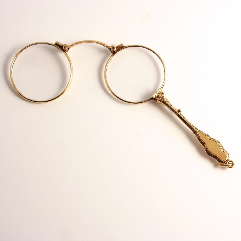 14 Karat Solid Gold Art Nouveau Lorgnette Pendant Eye Glasses Spectacles with Handle