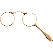 14 Karat Solid Gold Art Nouveau Lorgnette Pendant Eye Glasses Spectacles with Handle