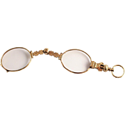 Georgian Gold Plated Dual Lorgnette Pince Nez Eye Glasses Spectacles