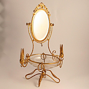 Napoleon III period  Palais Royal 1850 French Dressing Table Jewellery Accessory with Swivel Mirror and  St Louis Etched Glass Bowl and Candlesticks.