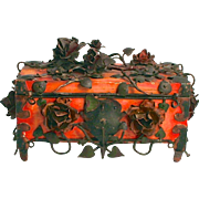 A Rare and Unique Spanish 1890 Arts and Crafts Jewellery Box with Extraordinary Decorations of Metal Roses.