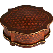 1860 Tahan of Paris Signed Kingswood and Bronze Mounted Marquetry Box with Secret Opening Method