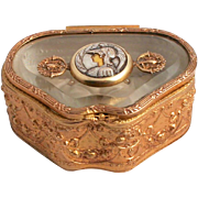 A Beautiful Printemps of Paris Art Nouveau Jewellery Box with signed Armand Bargas Amazon Warrior Centerpiece.