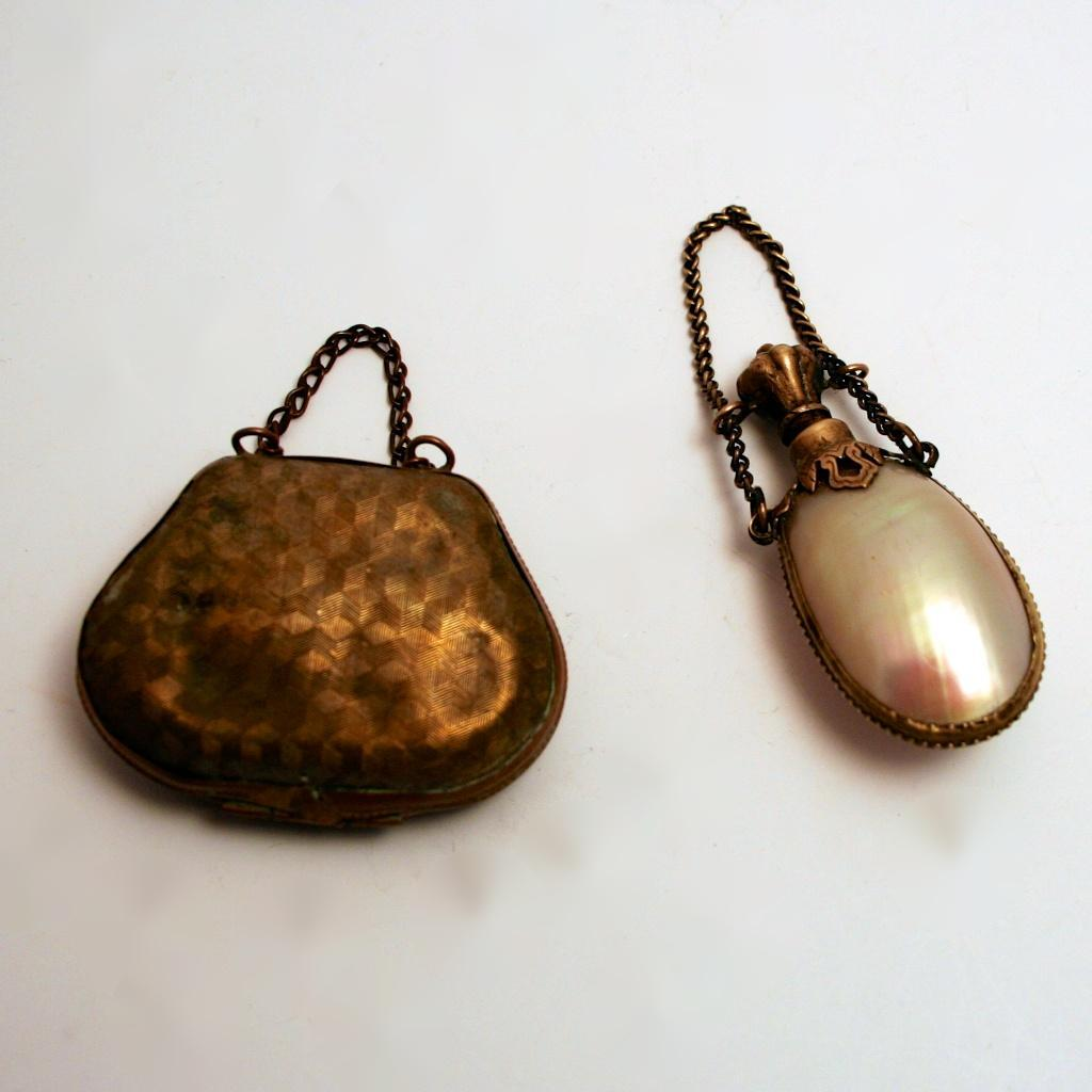French 19c Fashion Dolls Accessories Scent Bottle and Purse Bag