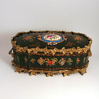 Large French Charles X Period 1830 Polychrome Ormolu and Serves Breakfront Jewellery Box Burr Walnut Interior with Lock and Key