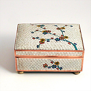 1900 Japanese Enamel Apple Tree Blossom Jewellery Box S817