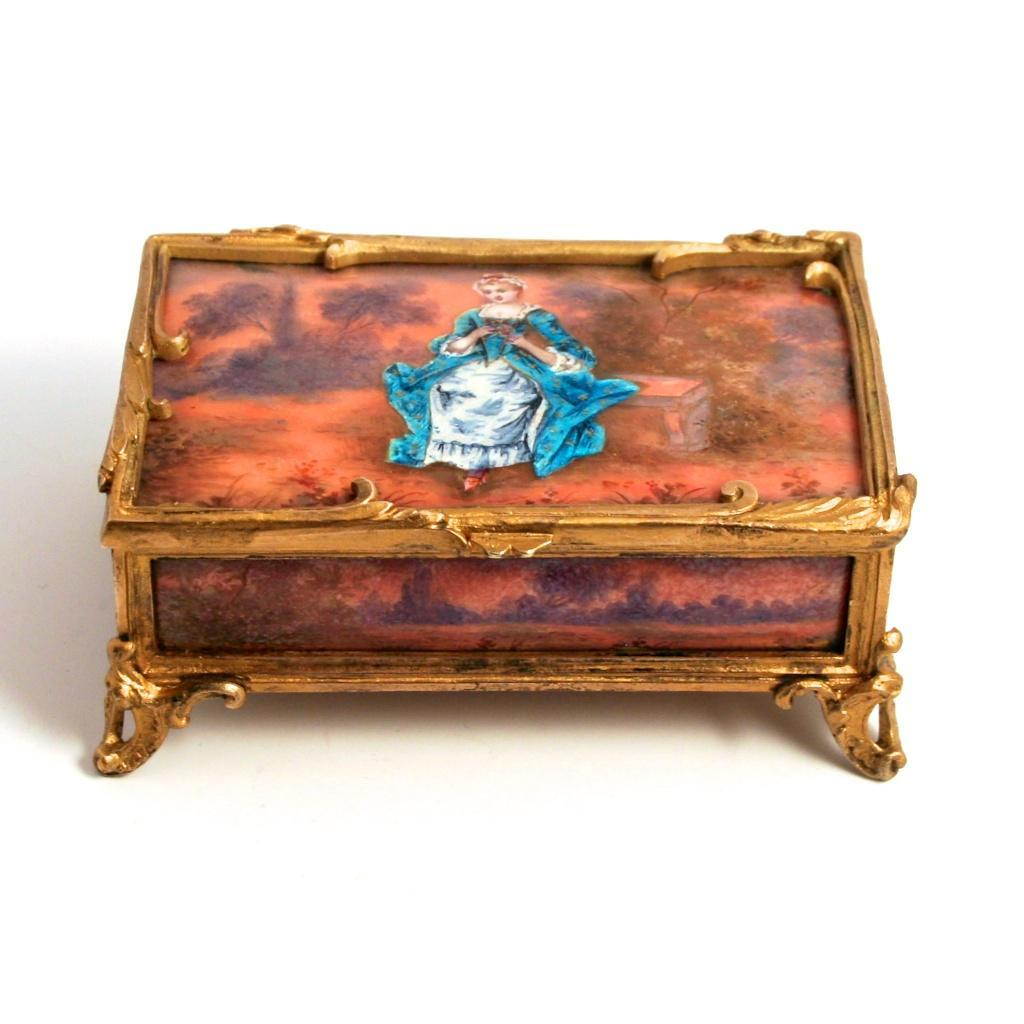 1835 Boissier Paris signed Enamel Bronze Jewellery and Chocolate Box S817