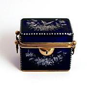 1840 Moser Bohemian Cobalt Blue Enamel Glass Casket  Sugar or Jewellery Box