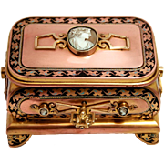 Tahan of Paris signed Jewellery Box Casket with Original Key decorated with Enamel and 5 Cameos