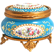 Napoleon III Period 1850 French Enamel Oval Jewellery Box with raised Borders of Opaline Half Pearls
