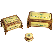 Antique Trio of Tahan of Paris Citron Enamel Jewellery Boxes