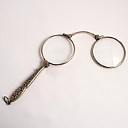 1880 French Lorgnette Enamel Silver Plated Handle Spectacles or Eye Glasses Antique S817