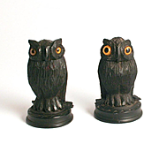 A Rare Pair of 1850 Thimble Holder Owls Hand Carved from 5000 Year Old Irish Bog Oak