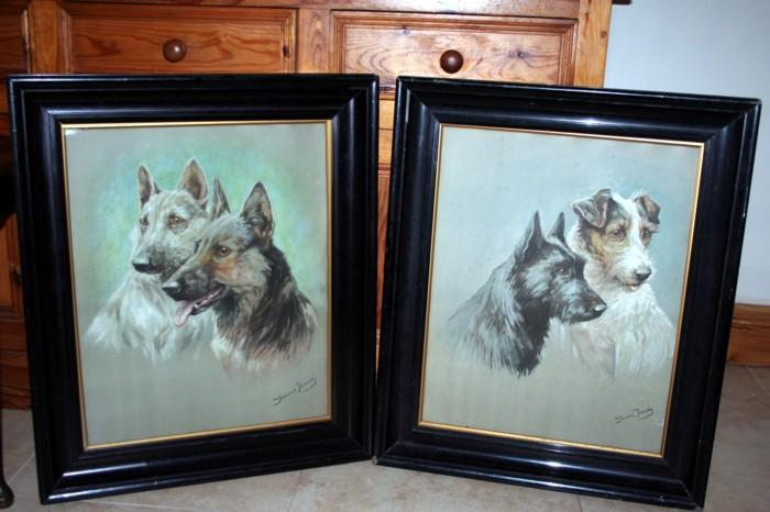 Two Water Color Paintings by Fannie Moody Late Victorian German Shepherds and Wire Haired Terriers