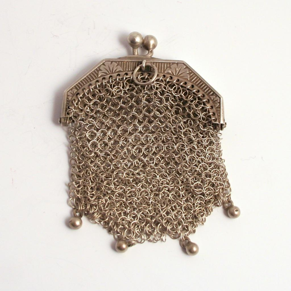 Antique French  Silver Porte Monai Debutant's Purse 1860 Pendant