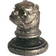 Antique 1880 Austrian Bulldog Thimble Holder Metal with Crystal Glass Eyes
