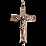 1880 Silver Arma Christi Reliquary Cross Crucifix French Saint Francis De Sales and Saint Jane Frances de Chantal Relics Enclosed