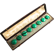An Antique Russian 19C Set of 8 Malachite Real Stone Buttons in original Leather Case with original Shop Sticker