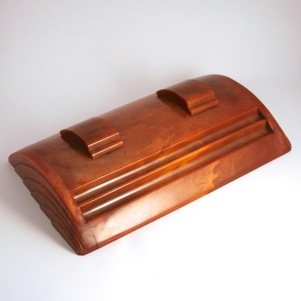 Art Deco Bakelite Inkstand Inkwells Pen Rests Writing Desk Accessory