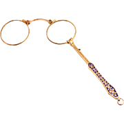 A Fabulous 1870 French Gold Plated Enamel Lorgnette Pendant with Elegant Fleur de Lis Handle Eye Glasses Spectacles