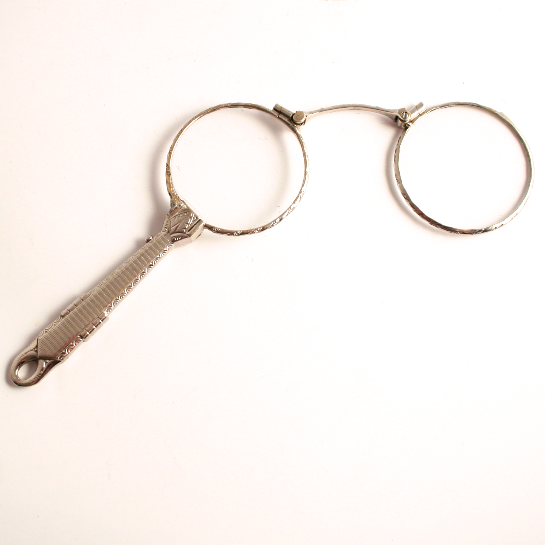 Vintage Art Deco Chrome Lorgnette Pendant 1930 Eye Glasses with Decorative Handle