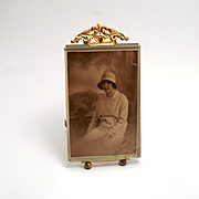 Antique Photograph Frame Easel Stand Bevelled Glass and Ormolu French Napoleon III Period 1860 5 1/2 inches by 3 1/2 inches