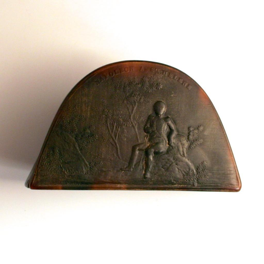 1820 Horn Snuff Box Napoleon Hat Bicorne with Inscription