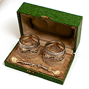 Antique French Silver and Crystal Salts Condiment Sweet Meats Set with Original Silver Spoons