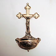 Antique 1889 Silver Holy Water Font Stoup Crucifix