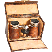 1910 French Opera Glasses Exotic Leather Silver Plated with Original Purse Case In Perfect Working Order