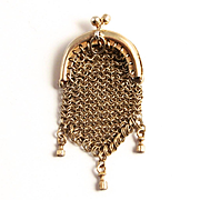 1860 Miniature Silver French Fashion Doll's Pendant Purse S817