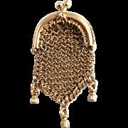 1860 Miniature Silver French Fashion Doll's Pendant Purse