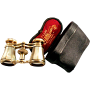 1880 Colmont of Paris Opera Glasses Mother of Pearl with Leather Case Eye Width Adjustable