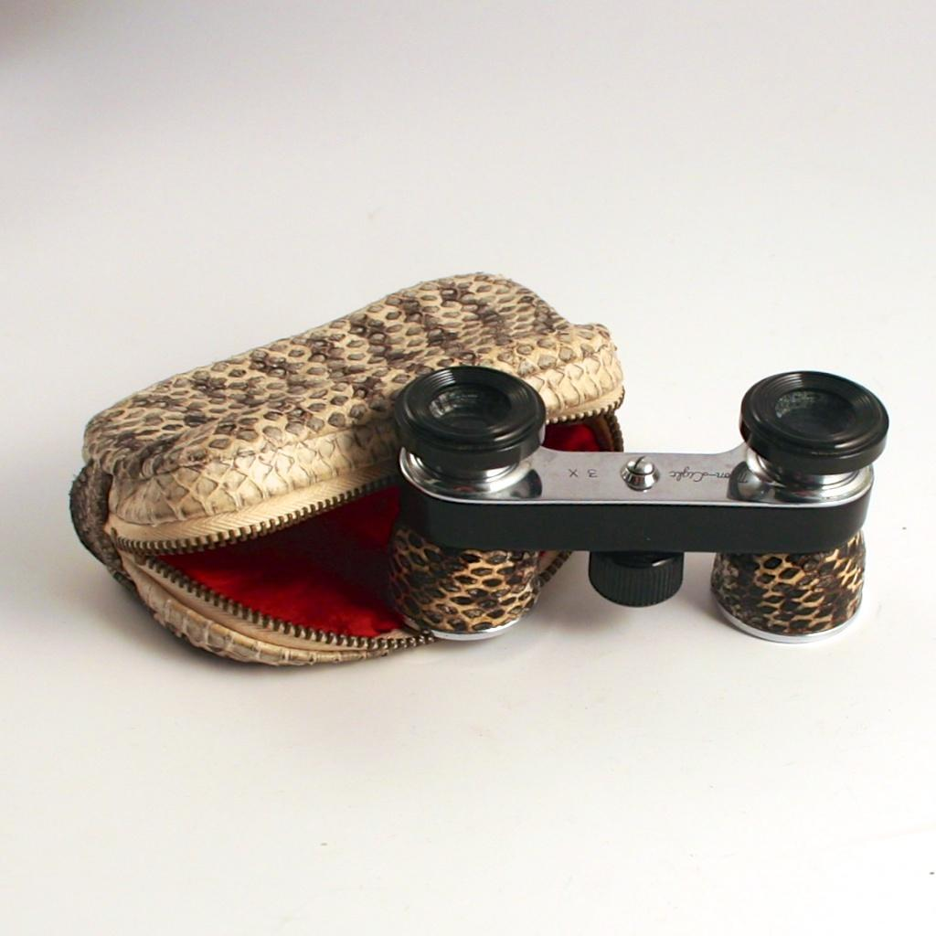 Vintage 1960 Exotic Leather Snake Skin Opera Glasses with Original Matching Purse.