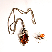 Antique Art  Nouveau Sterling Silver Pendant with Silver Chain and Amber Sterling Silver Spider Brooch
