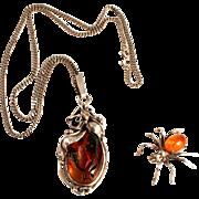 Antique Art  Nouveau Sterling Silver Pendant with Silver Chain and Amber Sterling Silver Spider Brooch
