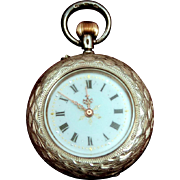 Antique 935 Sterling Silver Ladies Fancy Dial Fob Watch made in Switzerland by Asher Levy