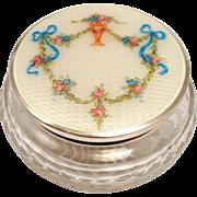 Vintage Art Deco Guilloche Enamel Sterling Silver Chrystal Dresser Jar - Red Tag Sale Item