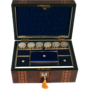 A Fabulous Antique 1890 Tunbridge Ware Banded Burr Walnut Sewing Work Box with Mother of Pearl Thread Winder Spools