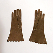 Antique Perrin of Paris French Fashion Doll Kid Leather Gloves Olive Green Color 4 Inches Long