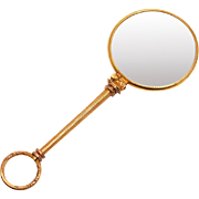 1860 Antique English Rolled Gold Quizzer Magnifying Glass Pendant Visual Aid