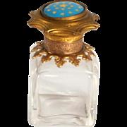 1860 French Enamel Chrystal and Gold Gilt Scent Bottle