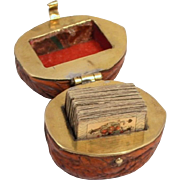 A Rare 1830 French Fashion Doll Miniature Bezique Playing Card Games Set in a Walnut Shell