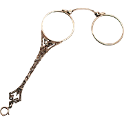 A Fabulous 1880  French Lorgnette Jewellery Pendant Ribbon Silver with Marcasites Hallmarked