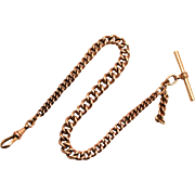 A Victorian Best Rolled Gold Albert Pocket Watch Timepiece Chain  with T Bar and Clip and Fob Chain
