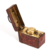 1880 Travelling Crocodile Skin Inkwell Writing Desk Accessory in the form of a Doctors Bag