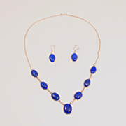 A Vintage Lapis Lazuli and Sterling Silver Necklace and Earrings Jewellery Set  Stock Code S817