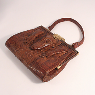 Edwardian 1910 Crocodile Skin Hand Bag in excellent Condition