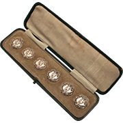 1901  Six Sterling Silver Romeo Buttons by Levi and Salaman, Birmingham, England all Hallmarked